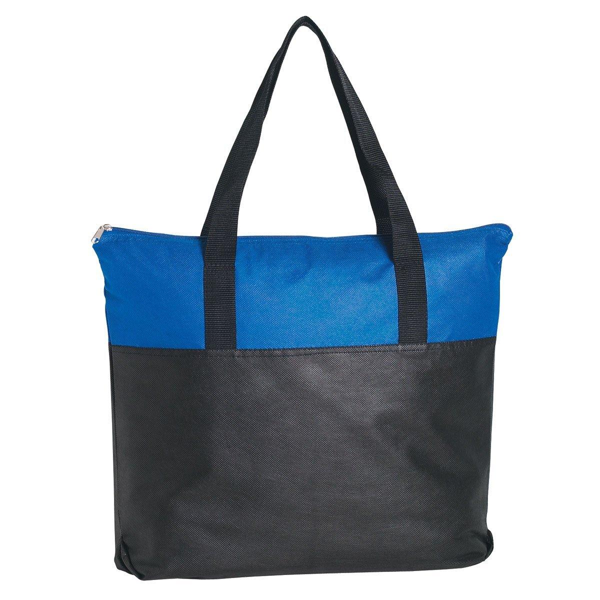 Zippered Non-Woven Tote Bag, Colored Trim