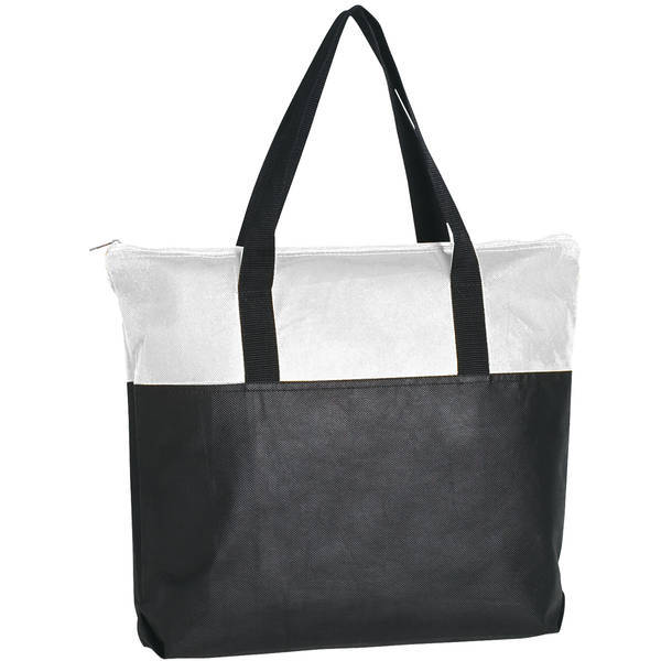 Zippered Non-Woven Tote Bag, Colored Trim