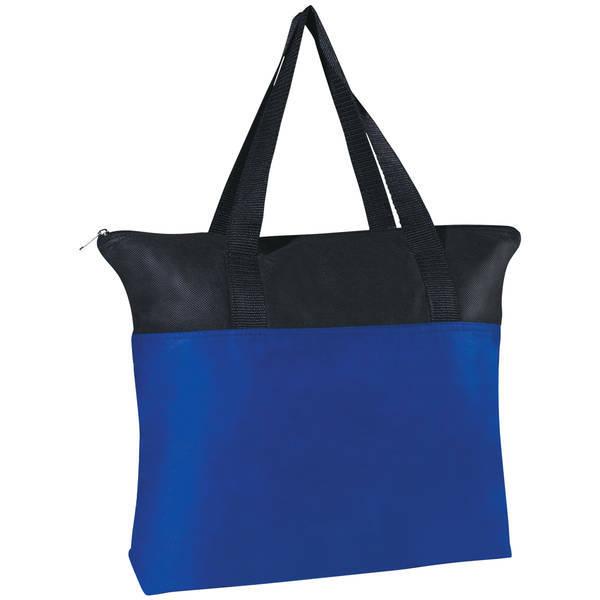 Black Trim Zippered Non-Woven Tote Bag