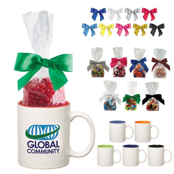 Two-Tone Ceramic Mug w/ Corporate Color Chocolates, 11oz.