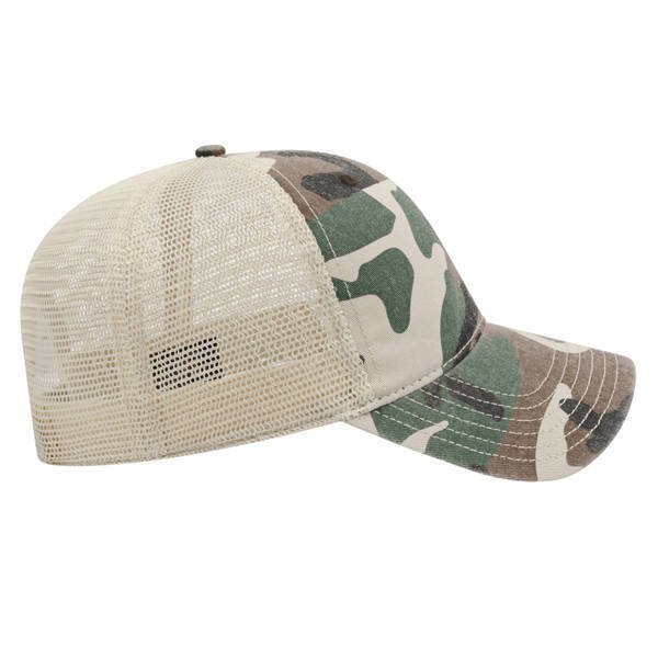 Washed Chino Twill Camo Unconstructed Cap with Soft Mesh Back