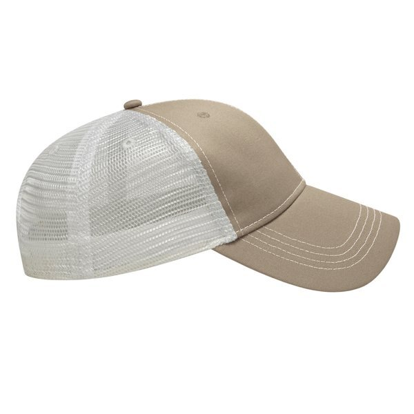 Contrast Stitch Chino Twill Unconstructed Cap with Mesh Back