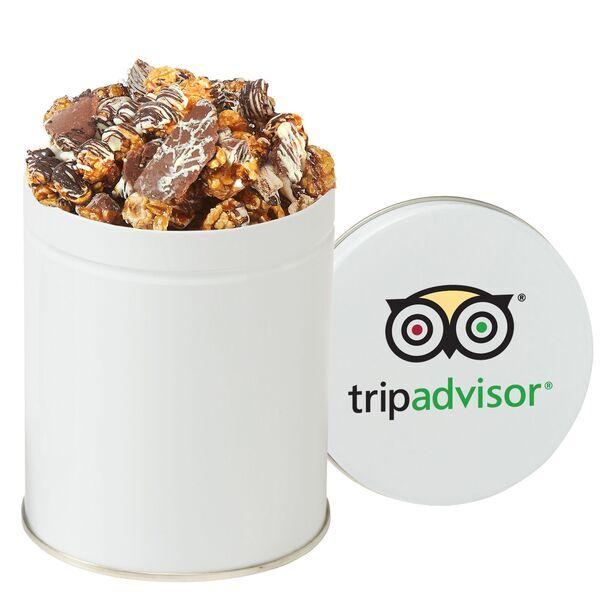 Gourmet Chocolate Pretzel & Potato Chip Popcorn Tin, Quart