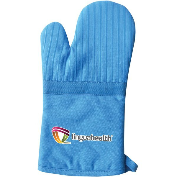 Silicone Striped Cotton Canvas Oven Mitt