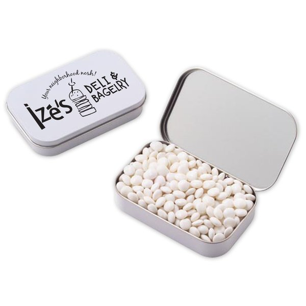 White Mints in a Large Hinged Tin