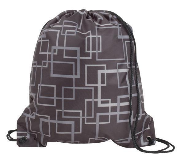 Doodle Polyester Drawstring Tote, Squares Design