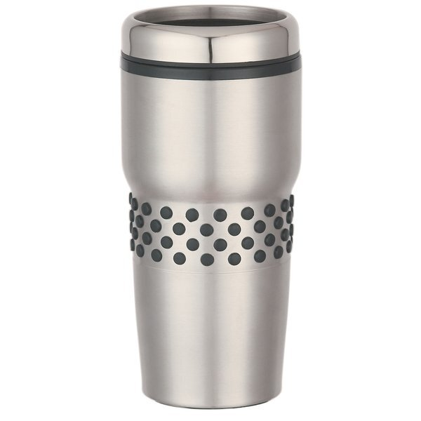 Dotted Rubber Grip Stainless Steel Tumbler, 16oz.