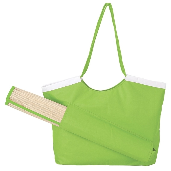 Beachfront 600D Polyester Tote & Straw Mat