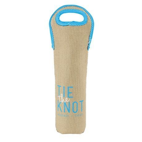 Single Bottle Burlap Neoprene Wine Tote Sleeve