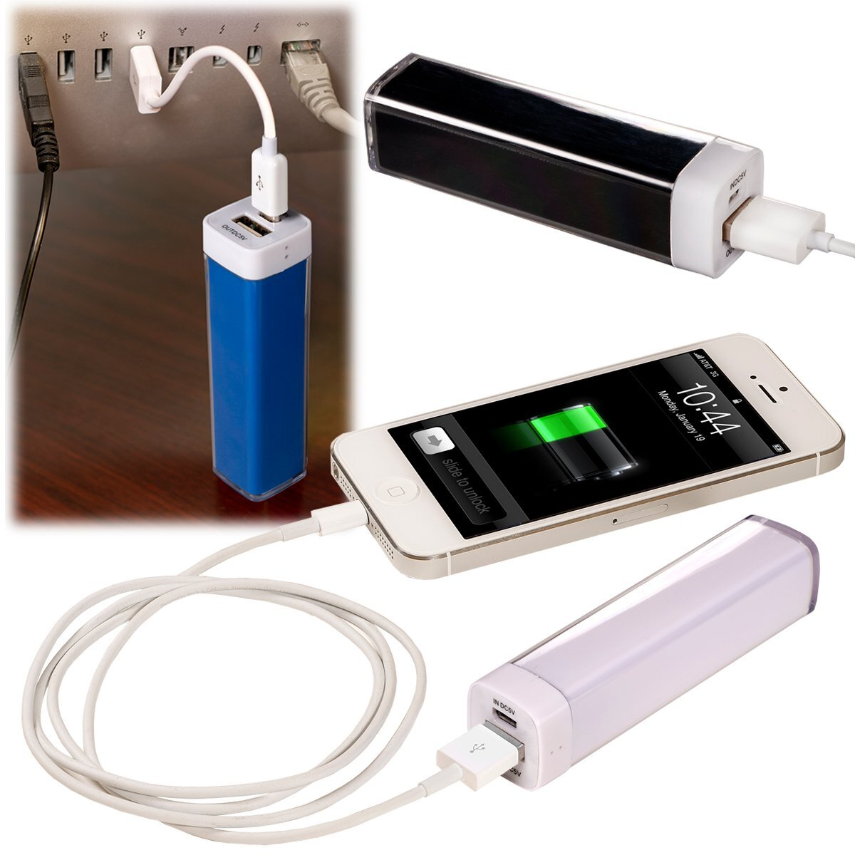 Econo Power Bank & Car Charger Gift Set, 2200mAh