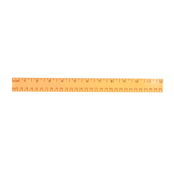 """Fluorescent Wood Ruler with Both Scales, 12"""""""