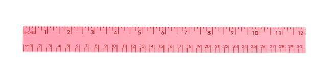 Fluorescent Wood Ruler with Both Scales, 12""