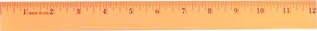 Fluorescent Wood Ruler, 12""