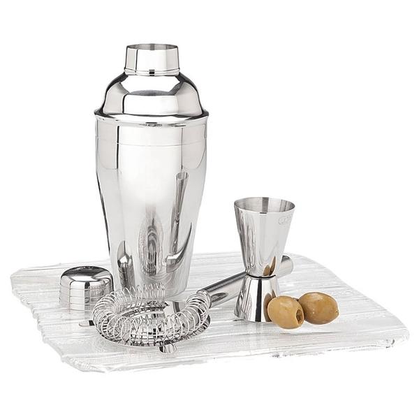 Martini Shaker with Jigger & Strainer Set