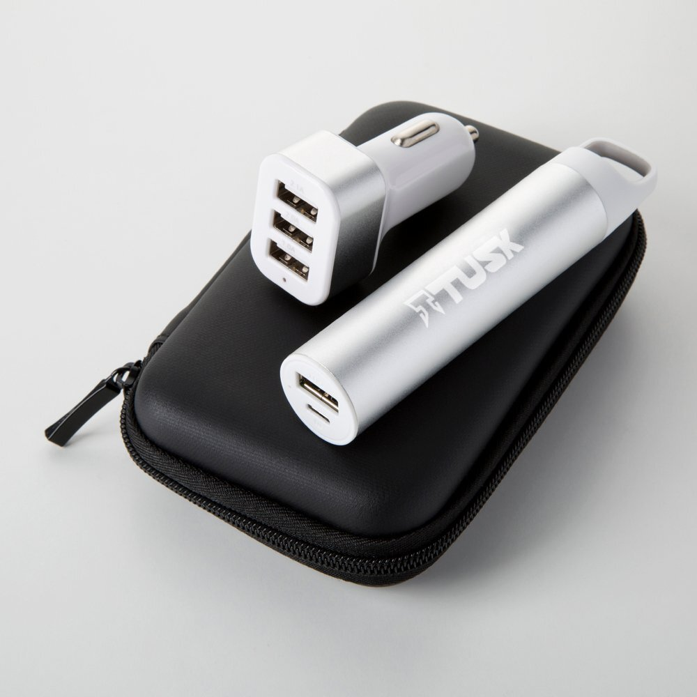 Power Bank with Keychain Hook and Car Charger Gift Set, 2200mAh