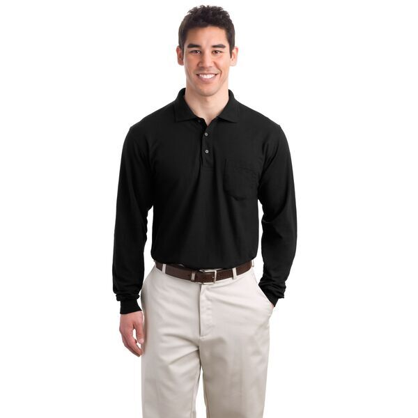 Port Authority® Silk Touch™ Pique Men's Long Sleeve Polo with Pocket