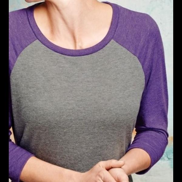 District Made® Perfect Tri™ Ladies' 3/4-Sleeve Raglan
