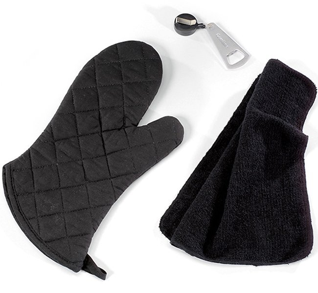 Grill Master Apron Kit with Mitt, Towel & Opener