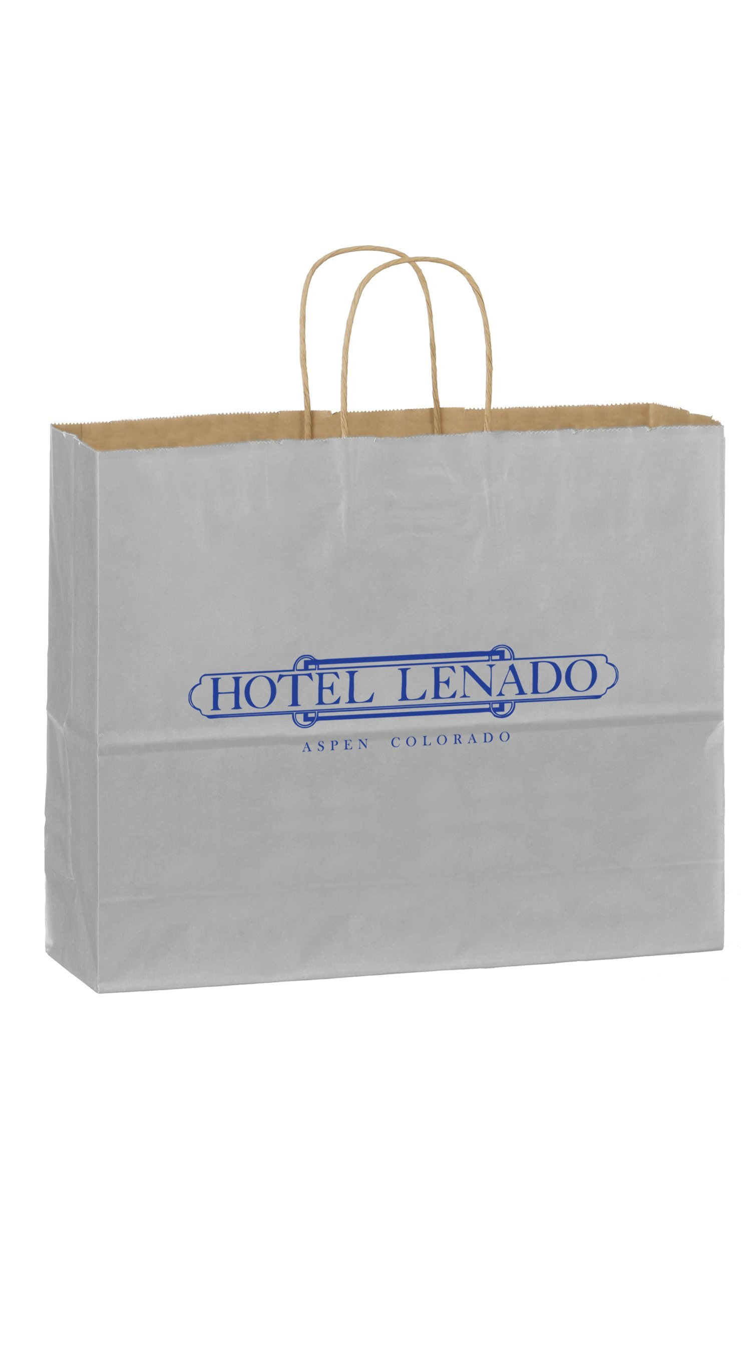"Matte Twisted Paper Handle Shopper Bag, 16"" x 13"""