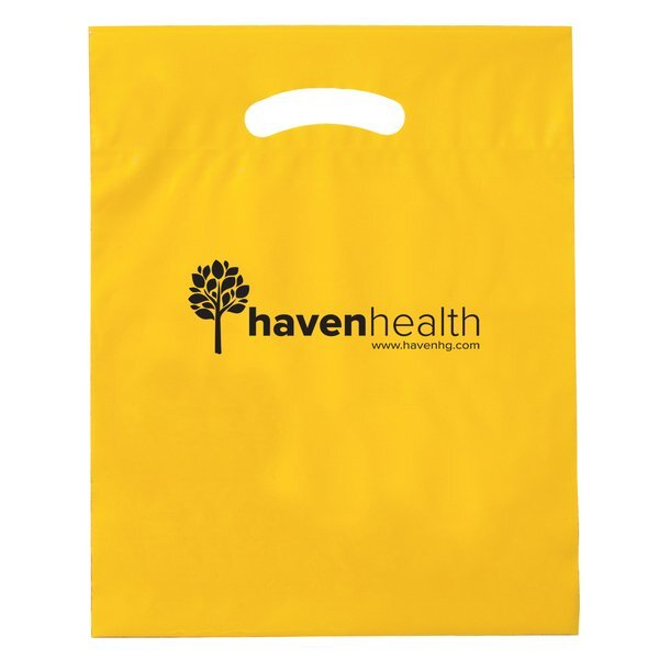 "Fold-Over Reinforced Die Cut Plastic Bag, 12"" x 15"""