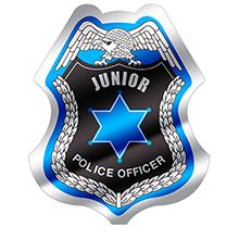 Junior Police Officer Foil Sticker Badge, Stock