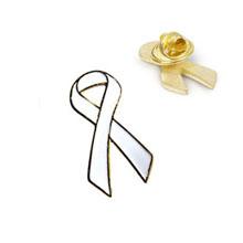 White Ribbon Lapel Pin