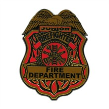 Large Kids Junior Firefighter Badge, Stock