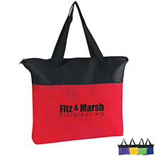 Black Trim Zippered Non-Woven Tote Bag