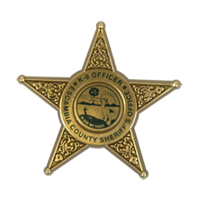 Junior 5 Point  Sheriff Star Badge with Pocket Clip, Custom