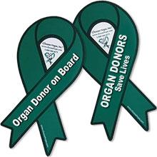 Green Ribbon Organ Donation Auto Magnet, Custom