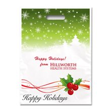 Holiday Plastic Bag - Full Color, Holly Berries