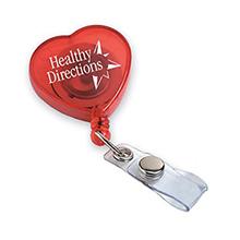 Heart Shaped Retractable Badgeholder, Alligator Clip
