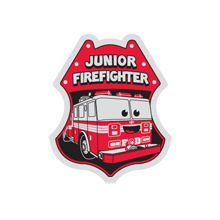 Junior Firefighter/Fire Truck Foil Sticker Badge, Stock
