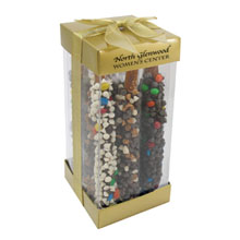 Chocolate Candy Covered Pretzel Rods Executive Treat Container