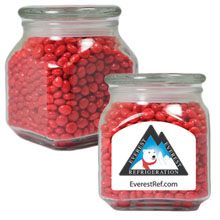 Red Hots in Small Glass Apothecary Jar