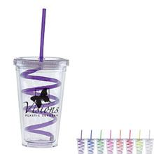 Twirly Acrylic Tumbler with Curly Straw, 16oz., BPA Free