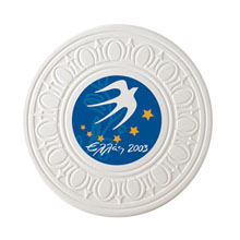Absorbent Greek Ceramic Coaster w/ Full Color Imprint