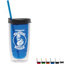 Fun Plastic Tumbler w/ Straw, 15oz., BPA Free