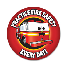 Practice Fire Safety Every Day Sticker Roll, Stock