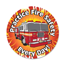 Practice Fire Safety Every Day Fire Truck Sticker Roll, Stock