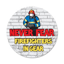 Never Fear Firefighters In Gear Sticker Roll, Stock