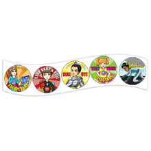 Fab 5 Fire Safety Squad Sticker Roll, Stock- Closeout, On Sale!