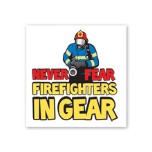 Never Fear Firefighters In Gear Temporary Tattoo, Stock
