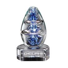"Atom Egg Art Glass Award w/ Clear Glass Base, 4"""
