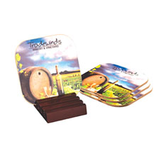 Hardboard Coaster Set w/ Wooden Stand, Full Color