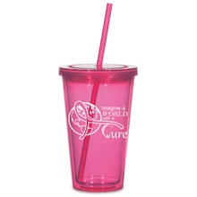 """Pink Travel Tumbler & Straw, """"Imagine a World with a Cure"""", Stock - On Sale, Closeout!"""