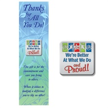 "Lapel Pin on Bookmark, ""We're Better at What We Do & Proud!"", Stock - On Sale, Closeout!"
