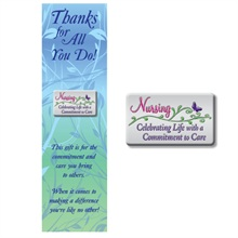 """Lapel Pin on Bookmark, """"Nursing Celebrating Life with a Commitment to Care"""", Stock - On Sale, Closeout!"""