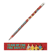 Team Up For Fire Safety Full Color Pencil, Stock- Closeout, On Sale!