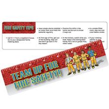 Laminated Safety Ruler, Team Up For Fire Safety, Stock - Closeout, On Sale!